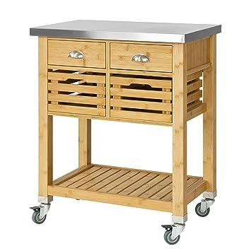 sobuy® servierwagen, küchenwagen,rollwagen mit edelstahlplatte ... - Rollwagen Für Küche