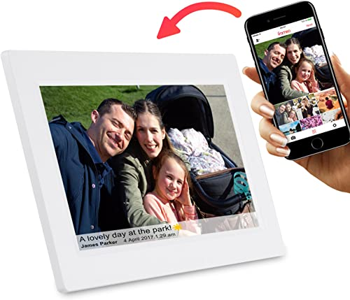 Feelcare 10 Inch Smart WiFi Digital Photo Frame with Touch Screen, Send Photos or Small Videos from Anywhere, IPS LCD Panel, Built in 8GB Memory, Wall-Mountable, Portrait Landscape White