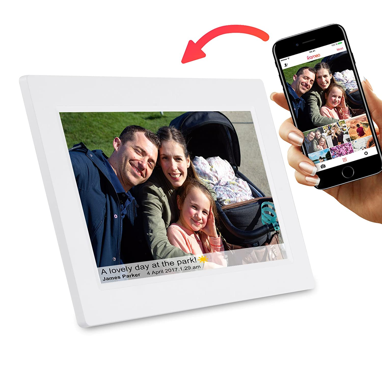 Feelcare 7 Inch Smart WiFi Digital Picture Frame with Touch Screen White Instantly Sharing Moments Wall-Mountable IPS LCD Panel Built in 8GB Memory Portrait/&Landscape