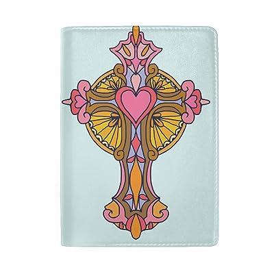 Art Heart Genuine Leather Passport Holder Wallet Case Cover for Men Women