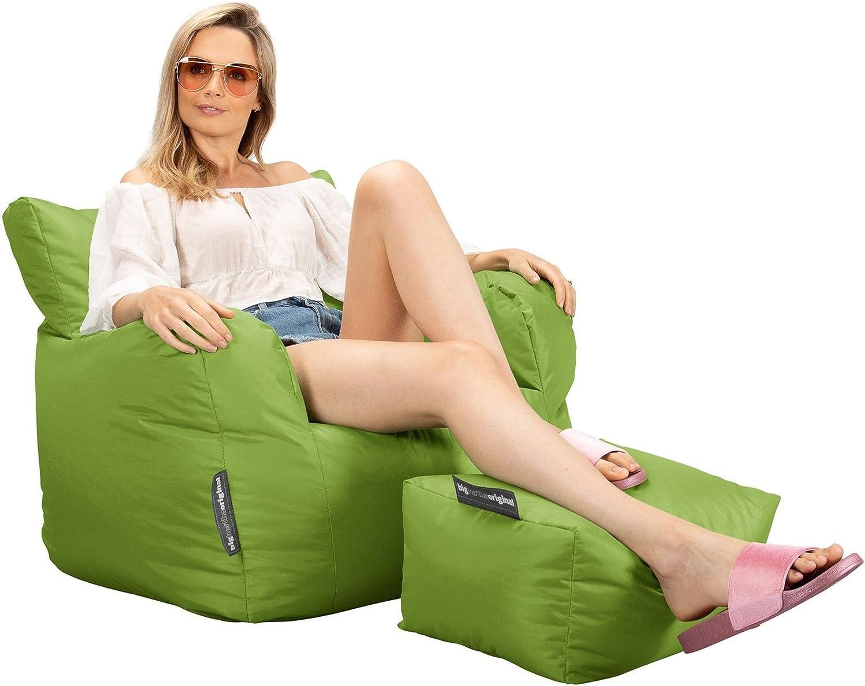 Lime Lehnstuhl Sitzsack Outdoor mit Hocker Ohrensessel Big Bertha Original