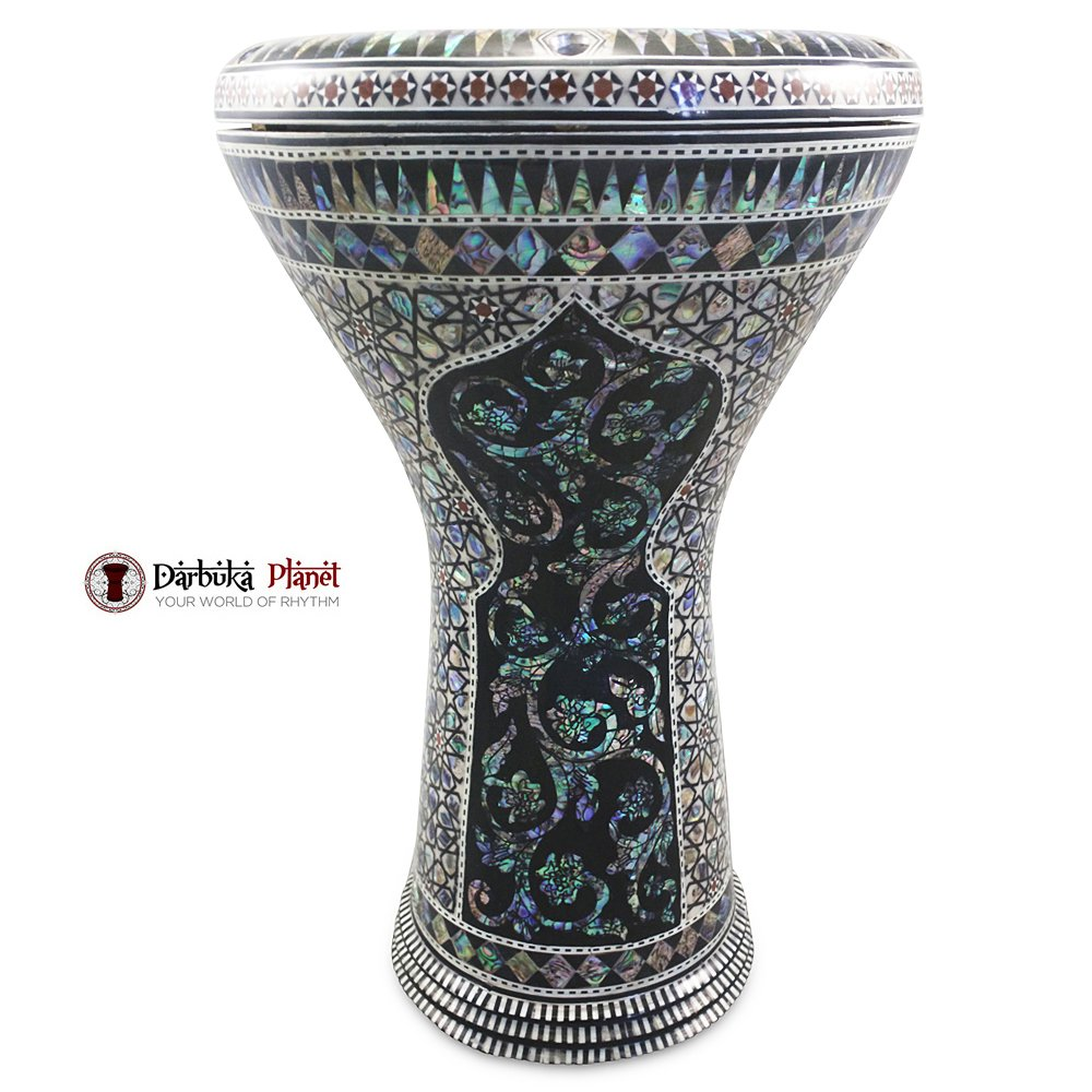 The 17'' Black widow With Blue Mother of pearl Gawharet El Fan Darbuka Doumbek 1000