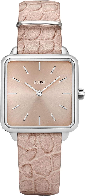 Cluse La Tetragone Reloj de Mujer Cuarzo 28mm analógico Correa de Cuero Color Beige Caja de latón CL60019