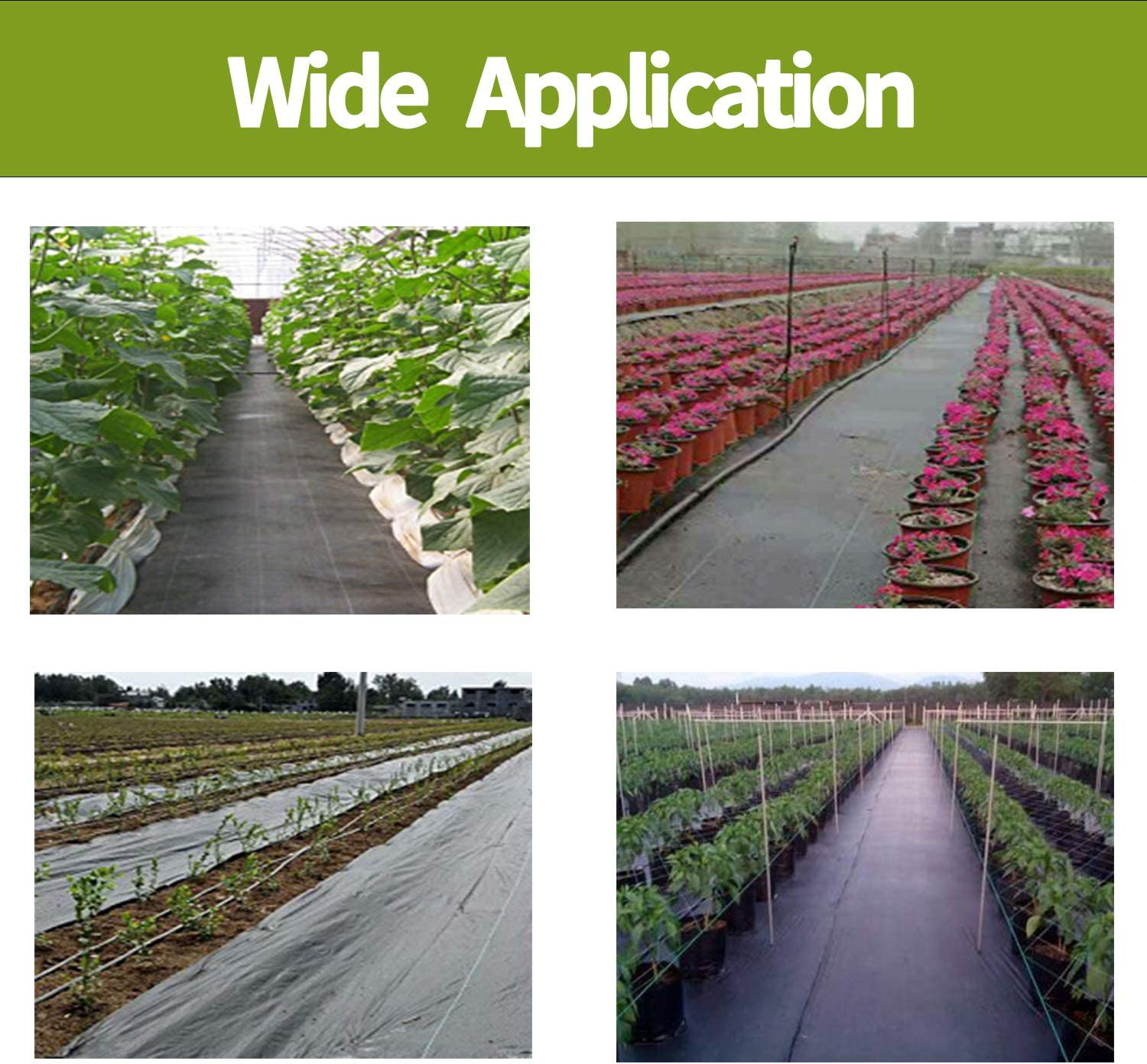 NONMON 2mx20m Weed Control Fabric,100gsm Heavy Duty Weed Barrier,Black Landscape Garden Ground Cover Membrane