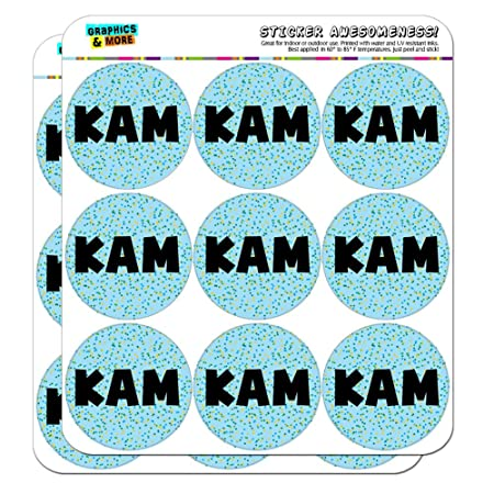 Kam - Name Scrapbooking Crafting Stickers - Blue Speckles