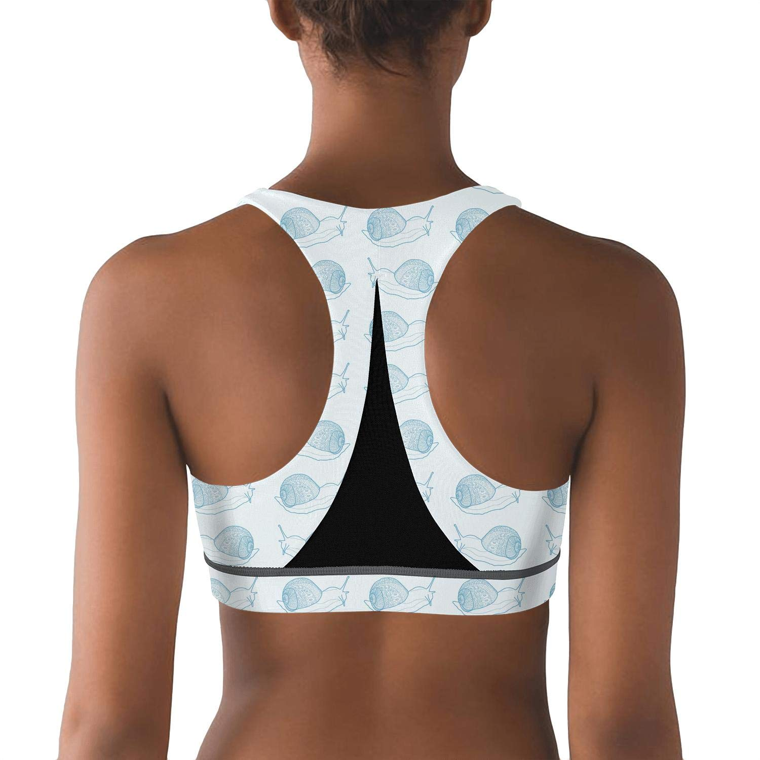 Womens Yoga Bra Snails is Runnig Blue Light Support Sports Bras Removable Pads