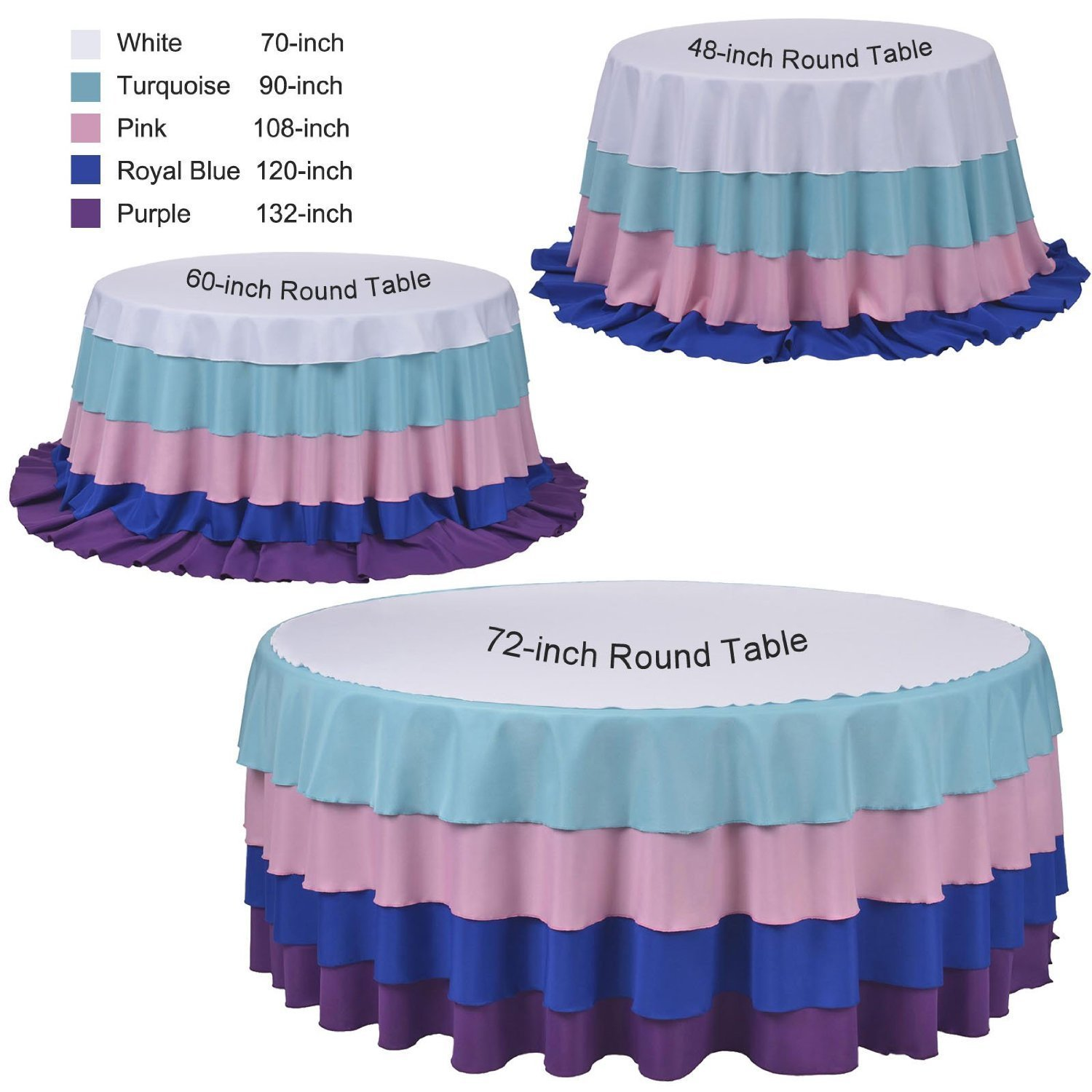 Tablecloth Polyester Round 90 Inch Steel Blue By Broward Linens