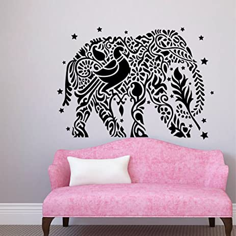 Amazon.com: Wall Decals Indian Elephant Star Patterns Tribal Yoga ...