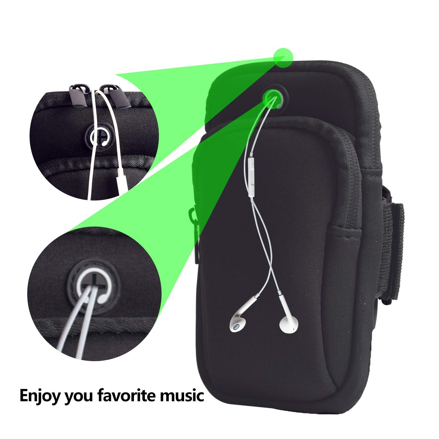Sport Running Arm Bag Outdoors Double Pouch Armband Holder fit All Below 6 Inch Cellphone for Exercise
