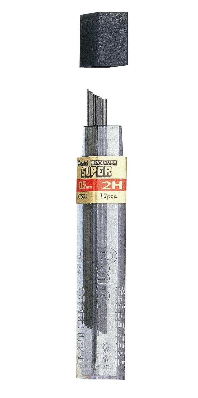 Pentel Set di 12 astucci di 12 mine per portamine, 0,5 mm 0,5mm 6H 5mm 0 C505-6H