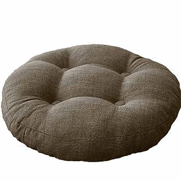 VClife Khaki Round Chair Pad Indoor Outdoor Bistro Chair Cushion Decorative  Decor Cotton Linen Floor Pillows