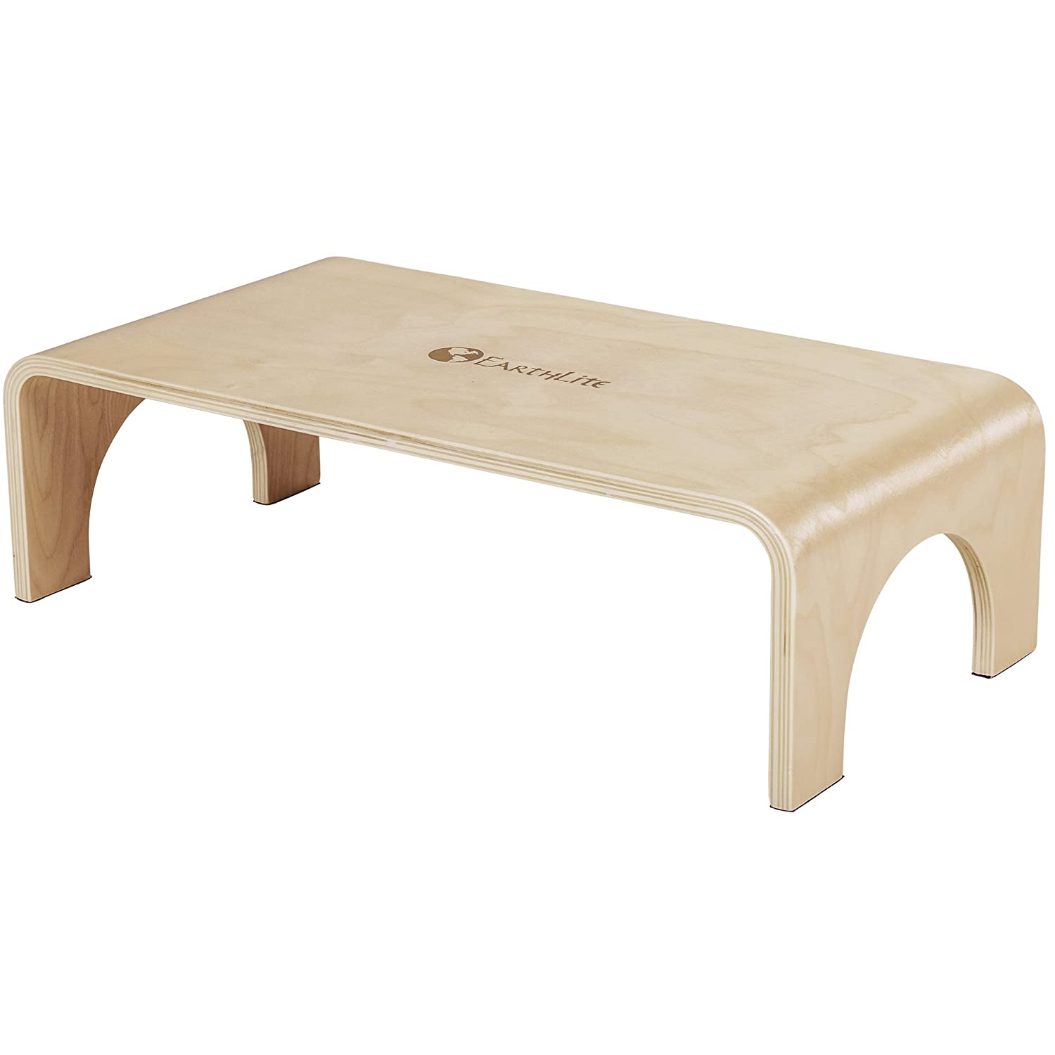 EARTHLITE Wooden Step Stool Big Step - 7'' High, Strong & Stable 40900