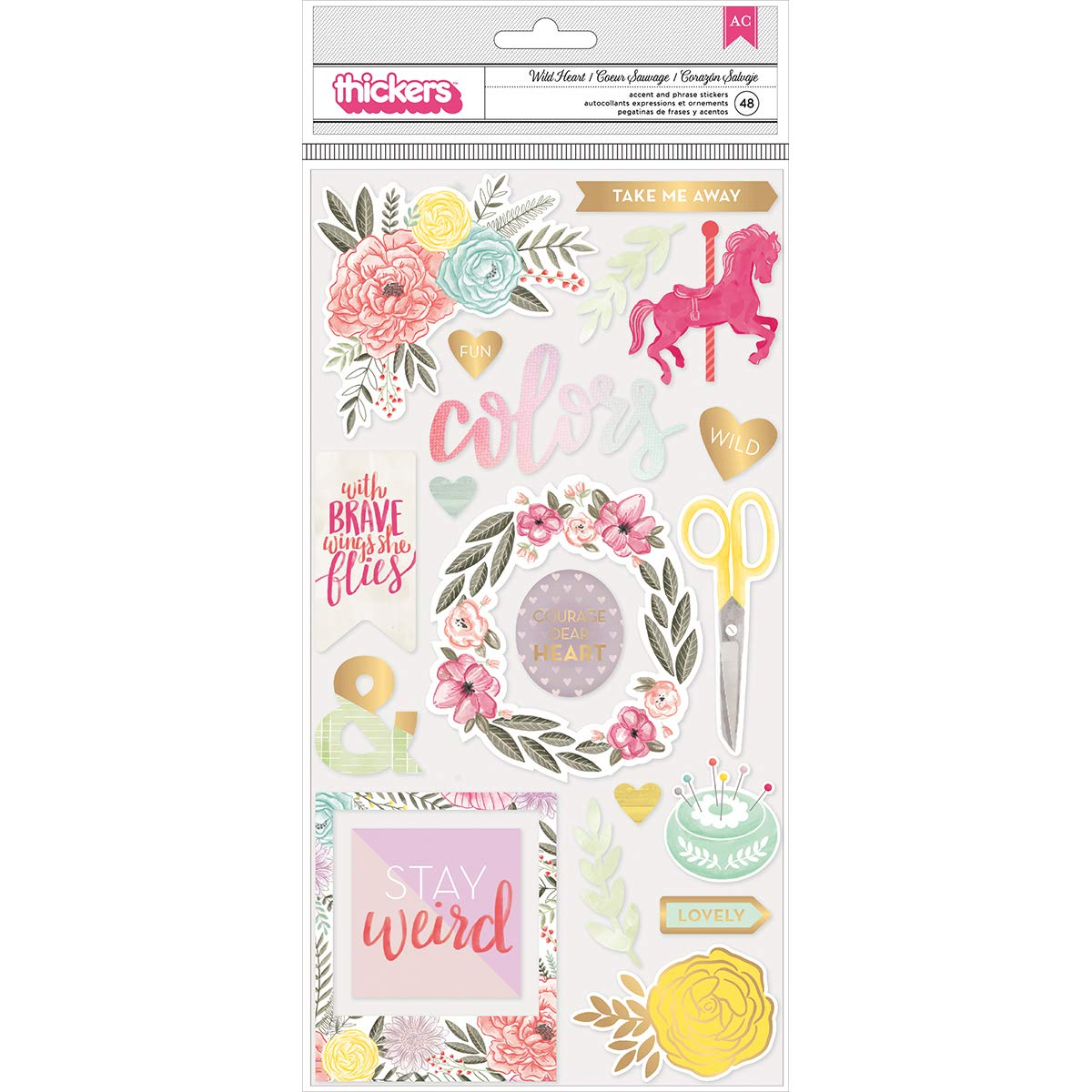 Pk Paislee Take Me Away Collection Thickers with Foil Accents Chipboard Wild Heart (6 Pack)