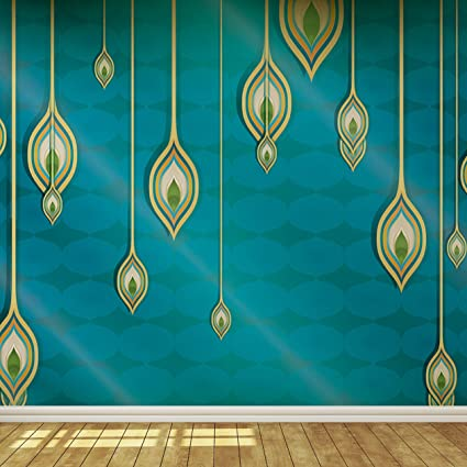 Blue Teal And Gold Exotic Indian Design Wallpaper Mural