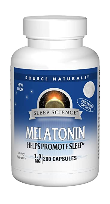 Source Naturals Melatonin 1 mg Vegetarian Capsules, for Occasional Sleeplessness, 200 Vegetarian Capsules