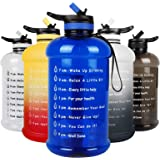 layajia 73OZ/0.6 Gallon Motivational Large Water Bottle with Straw & Time Marker, Leakproof BPA Free Big Water Jug, Wide Mout