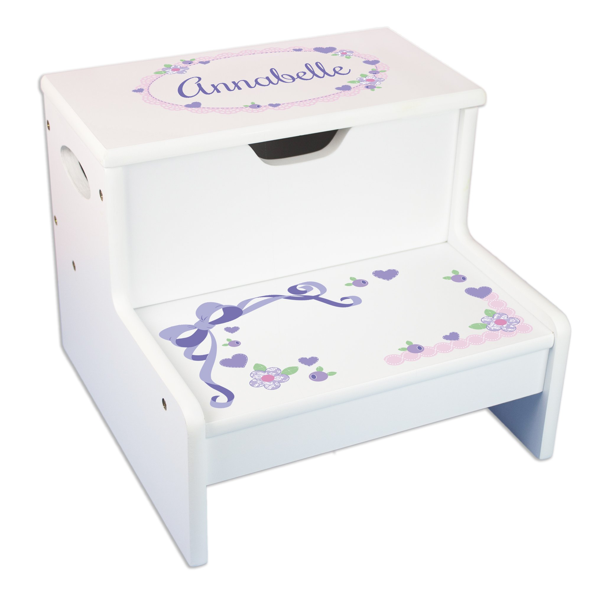 Personalized Lacey Bow Storage Step Stool