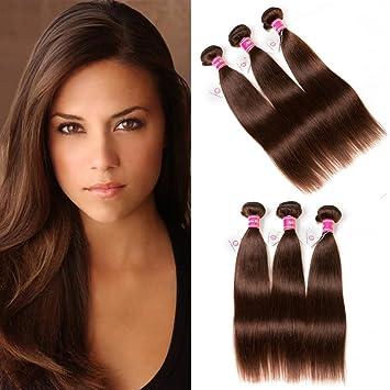 Aphro Hair 8A Grade Brazilian Straight Hair Bundles Virgin Human Hair Weave  4# Light Brown