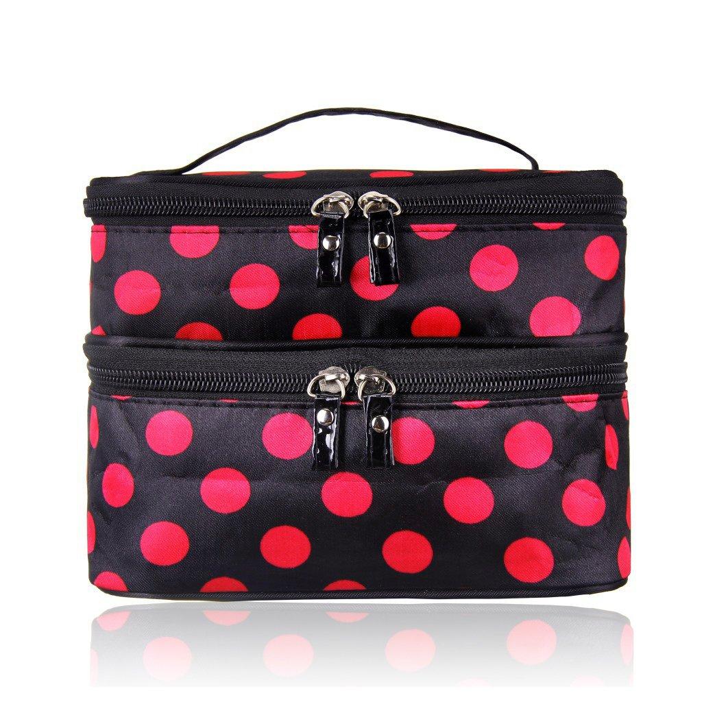 Vinmax Makeup Organizer Double Layer Travel Cosmetic Bag for Beauty Fashion Polka Dot Bag Large Capacity Storage Toiletry Bag