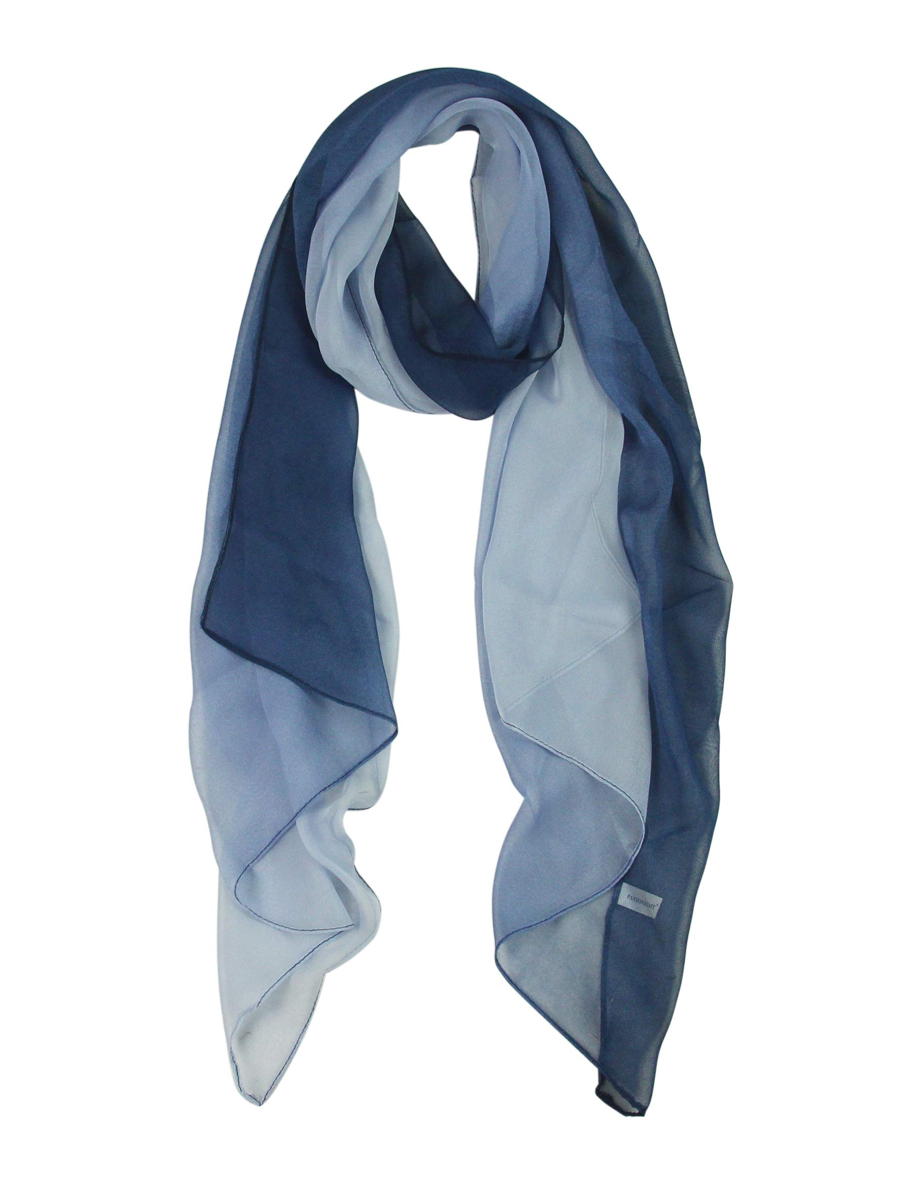 Long Ombre Chiffon Sheer Scarf Gradient - Pantonight Blue Shaded Colors Lightweight Scarf For Womens (Color 087) by PANTONIGHT
