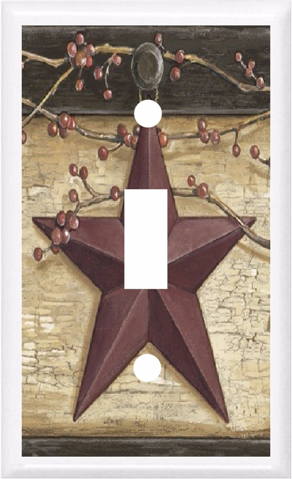 COUNTRY BARN STAR & BERRIES HOME DECOR LIGHT SWITCH COVER PLATE OR OUTLET (1x TOGGLE (SINGLE))