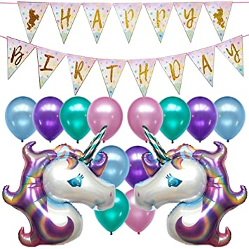 Unicorn Birthday Party Decorations Banner Decor Supplies Set Kit Favors