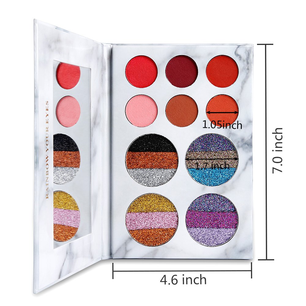 DE'LANCI Eyeshadows Palette Makeup,4 Creamy Mixed Glitter and 6 Matte Shades Insanely Pigmented Cosmetic Eye Shadows Set for Party and Daily Use by DE'LANCI (Image #5)