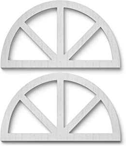 """Barnyard Designs Rustic Wood Cathedral Arch Window Frame, Decorative Arched Window Pane Wall Art, Vintage Farmhouse Country Decor, White, 30"""" x 17"""", Set of 2"""