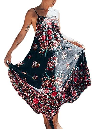 Vestidos Mujer Verano Vintage Bohemio Estilo Estampados Flores Ropa Marcas Sin Espalda Playa Vestidos Largos Elegante
