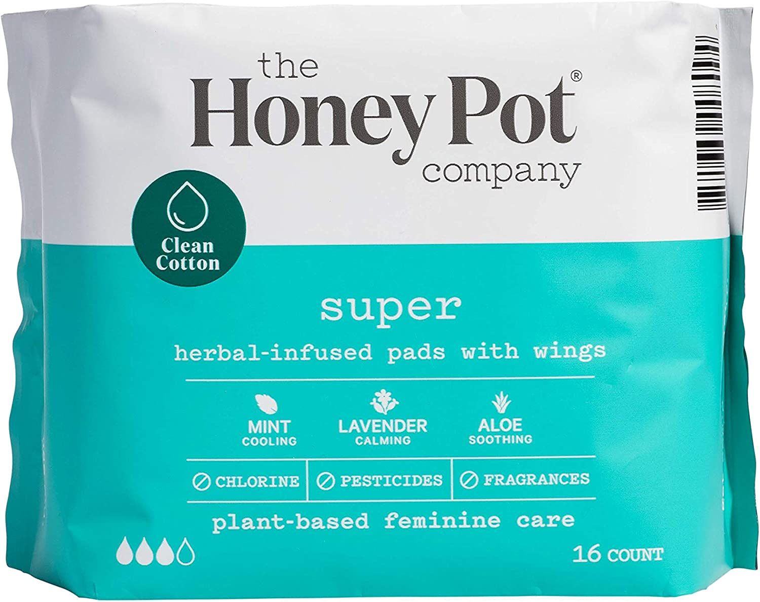 The Honey Pot Feminine Pads with Wings, Super Absorbency, Herbal All Natural, (16 Count)