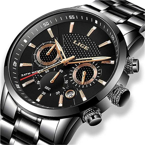 Relojes De Hombre De Pulsera Impermeable Deportivo Marca De Lujo LIGE Cronógrafo Fecha De Acero Inoxidable Moda Negro Reloj Analógico De Cuarzo