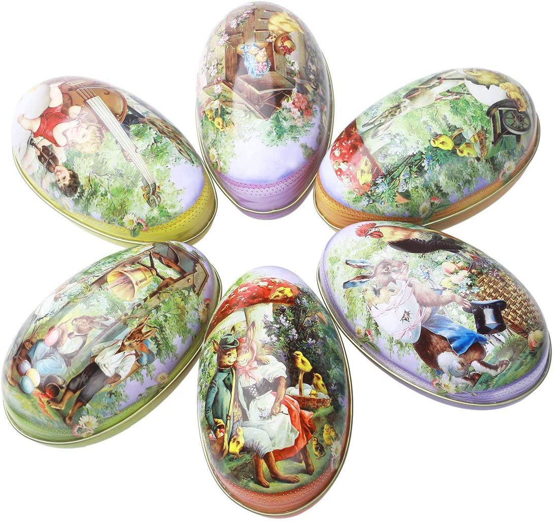 Lacheln Easter Day Eggs Decoration Party Decor Different Vintage Bunny Chicken Pattern (Metal Eggs,Pack of 6)