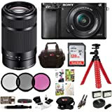 Sony Alpha a6000 Mirrorless Camera w/16-50mm & 55-210mm Lenses & 128GB Bundle (Black)