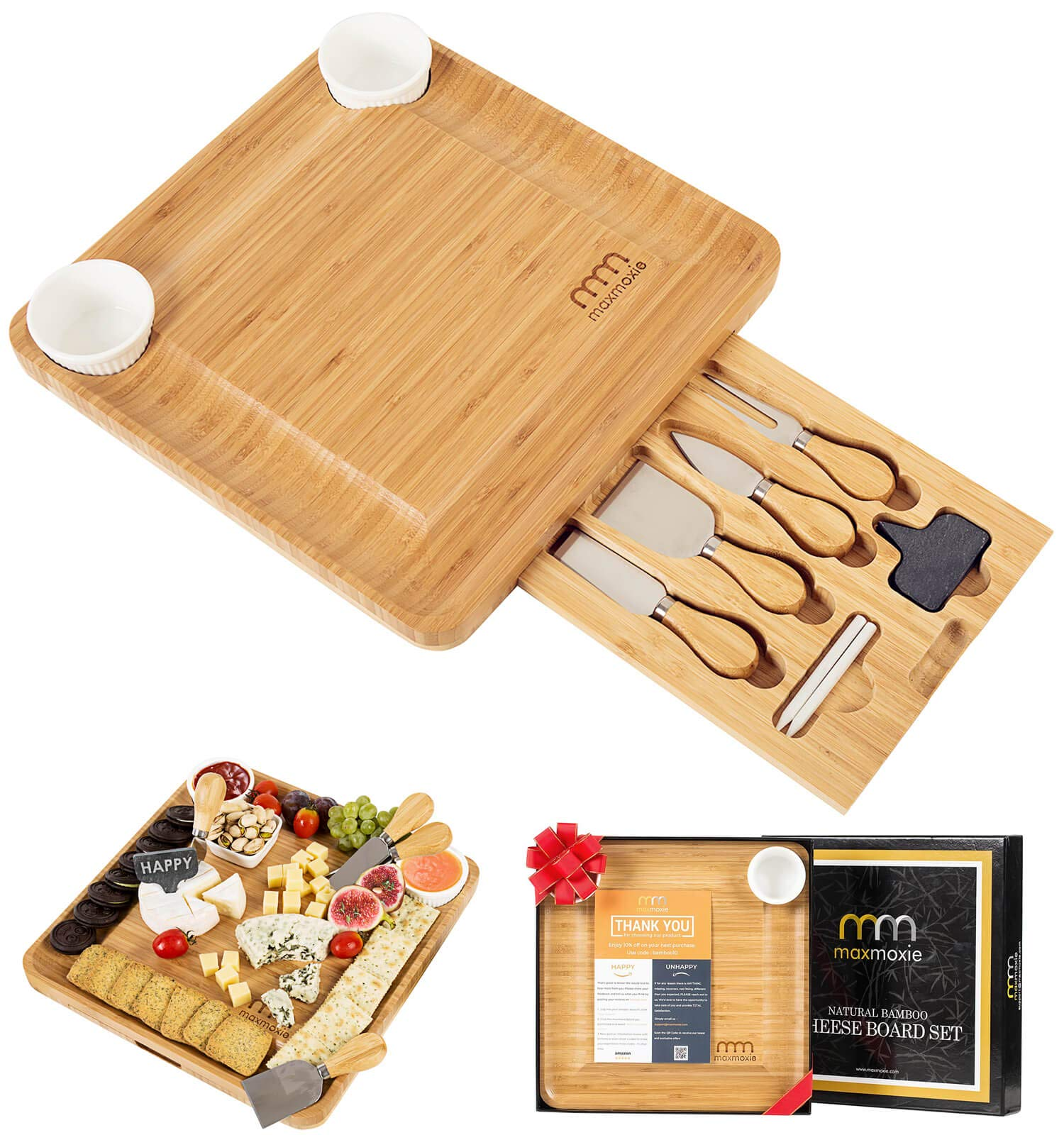 Cheese Board and Cutlery Set (Top Quality Elegant Packaging) Unique Bamboo Charcuterie Platter and Serving Tray for Wine, Cracker, Brie and Meat - Best Present for Mom, Hostess Valentine Birthday Gift by MaxMoxie