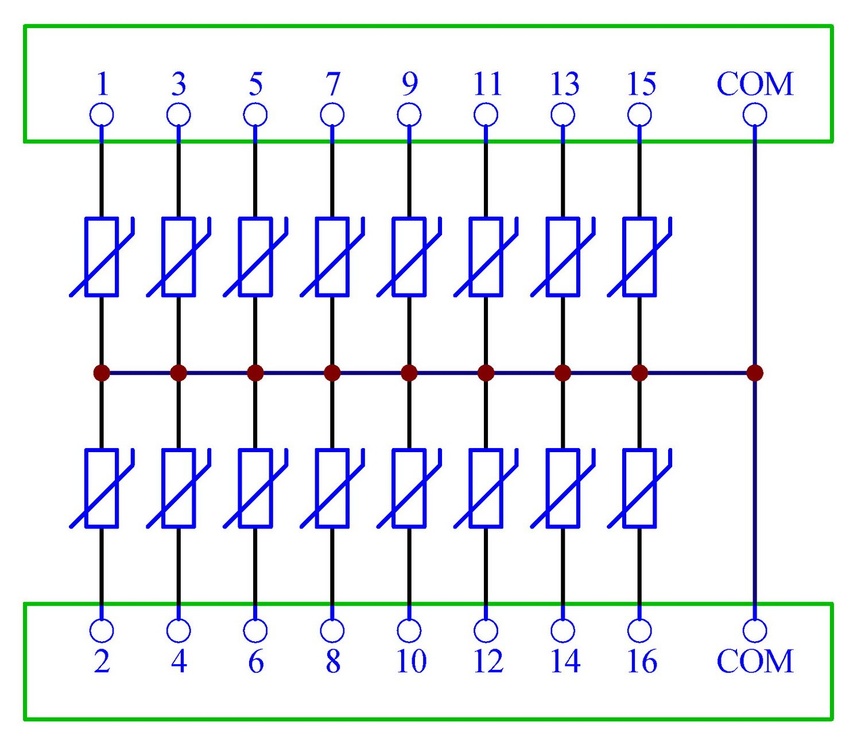 Chunzehui 16 Channels Common 30V SIOV Metal Oxide Varistor Interface Module Surge Suppressor Protection SPD Board.
