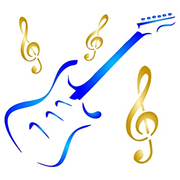 Plantilla de guitarra – Instrumento musical reutilizable Treble Clef Music Stencils para pintar – Uso en