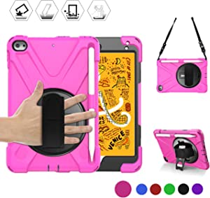 BRAECN iPad Mini 5 Case 2019, [Portable Shoulder Strap]+[Rotating Handle Strap/Kickstand]+[Built-in Pencil Holder] Heavy Duty Shockproof Childproof Case for iPad Mini 5/4, [Pencil not Included]-Rose