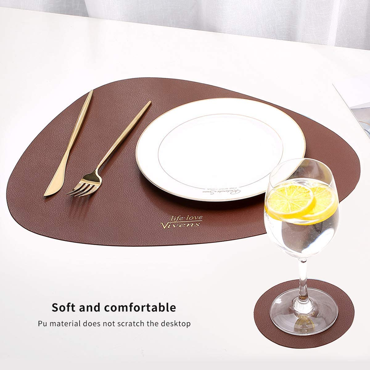 Brown VIVENS Placemats PU Leather Table Mats and Coasters Set of 2,Heat Insulation Stain Resistant Non-Slip Placemat Waterproof Washable Colourful Table Mats
