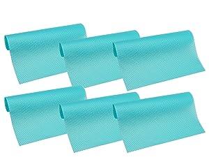 """HityTech 6 Pack Refrigerator Mats, Washable Fridge Mats Liners Waterproof Fridge Pads Mat Shelves Drawer Table Mats 17 3/4"""" x 11 3/4"""" - All 6 Blue"""