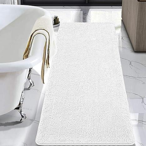 Lochas Luxury Bathroom Rug Shaggy Bath Mat 24 X 60 Inch Washable Non Slip Bath Rugs For Bathroom Shower Soft Plush Chenille Absorbent Carpets Mats White Amazon Ca Home Kitchen