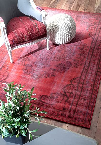 Amazon.com: nuLOOM Red Machine Made Vintage Inspired Overdyed Rug ...