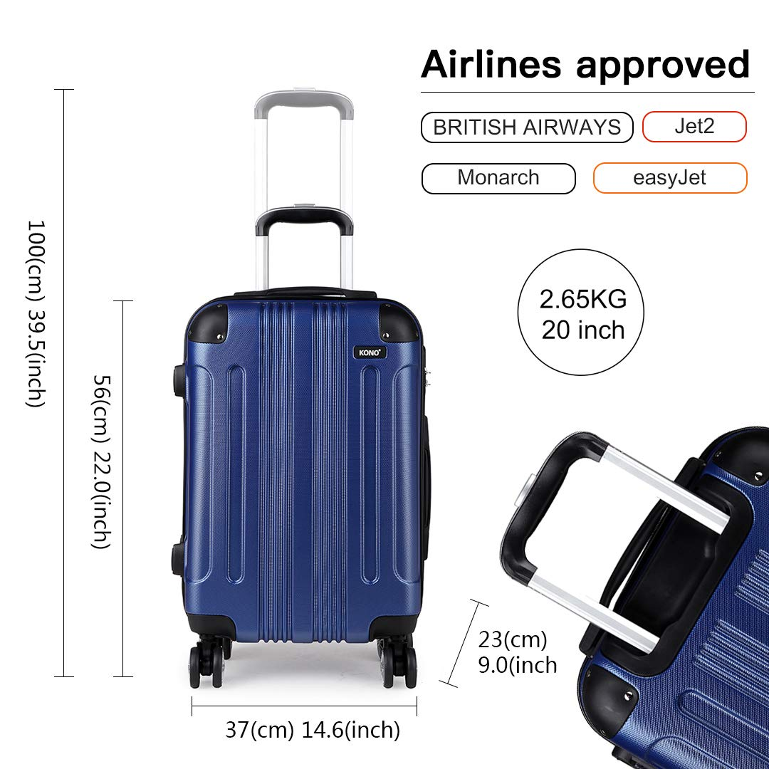 """New Navy 20/"""" Kono 20 Inch Hard Shell Luggage Lightweight ABS 4 Wheels Spinner Business Trip Trolley Case Cabin Carry-on Hand Luggage Suitcase"""