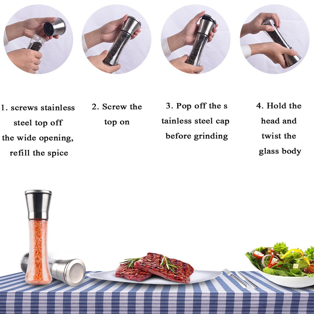 SHiZAK Set of 2 Salt and Pepper Grinder, Spice Grinder with Adjustable Coarseness Ceramic Rotor, Stainless Steel Pepper Shakers with 1 pcs Cleaning Brush