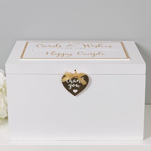 Caja grande de madera para tarjeta de boda – Tarjetas de crema y ...