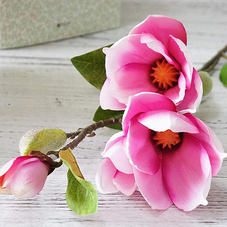 NOMSOCR 造花 フェイクマグノリアの花 シルクプラスチック 4頭 ブライダルウェディングブーケ ホームガーデンパーティー ウェディングデコレーション 50cm ピンク MM915 B07HDZSY9B ディープピンク