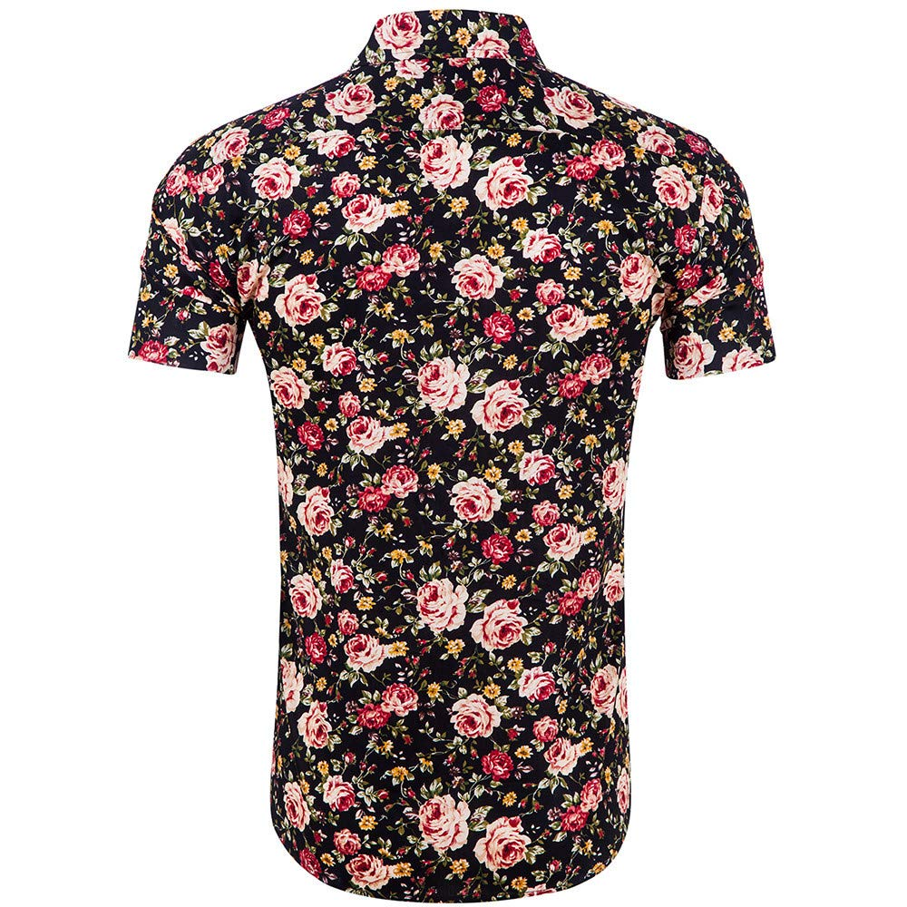 Toaimy Mens Printed Blouse Casual Short Sleeve Slim Shirts Tops