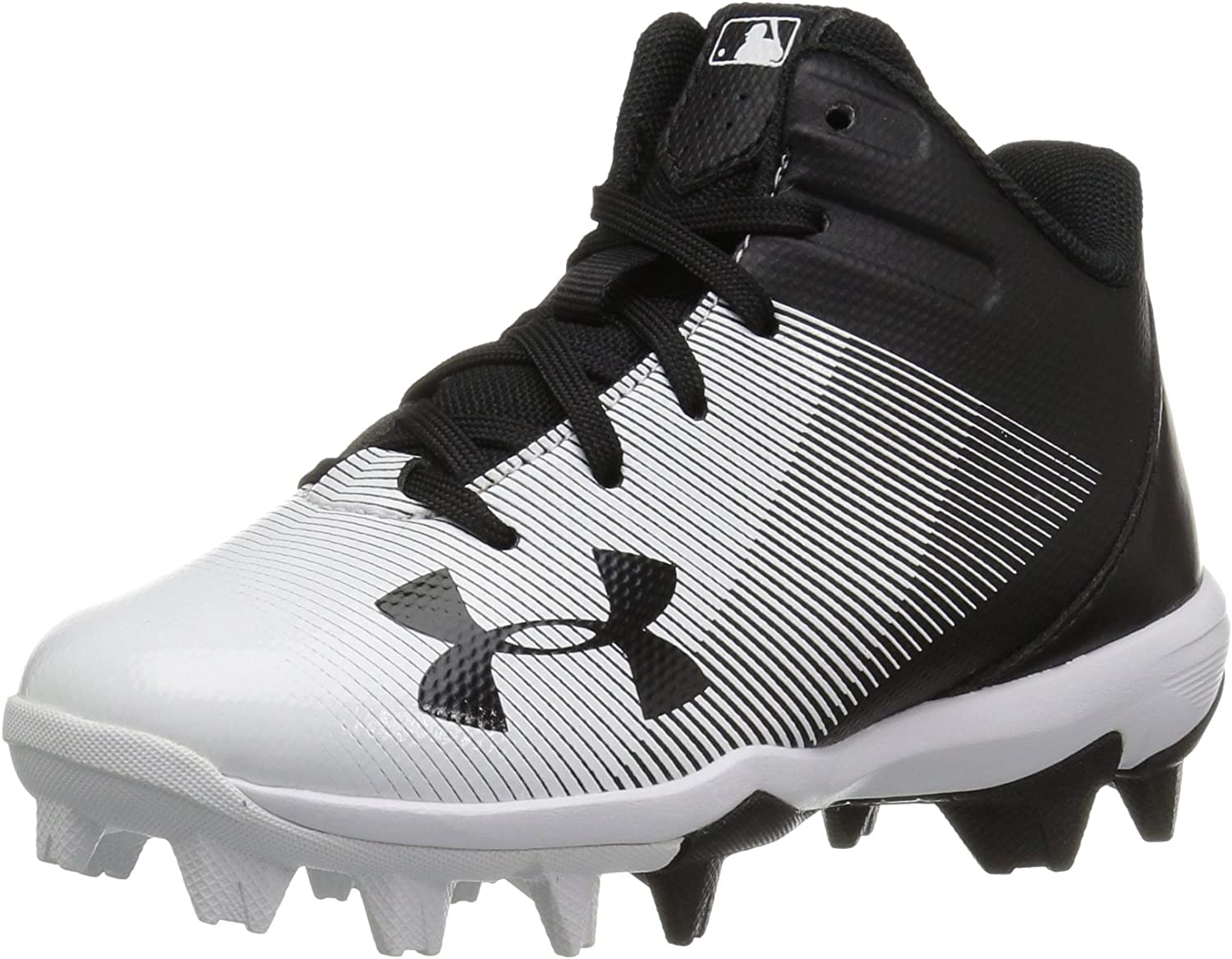 New Youth Under Armour Renegade RM Mid Football Cleats Black//White Sz 6Y