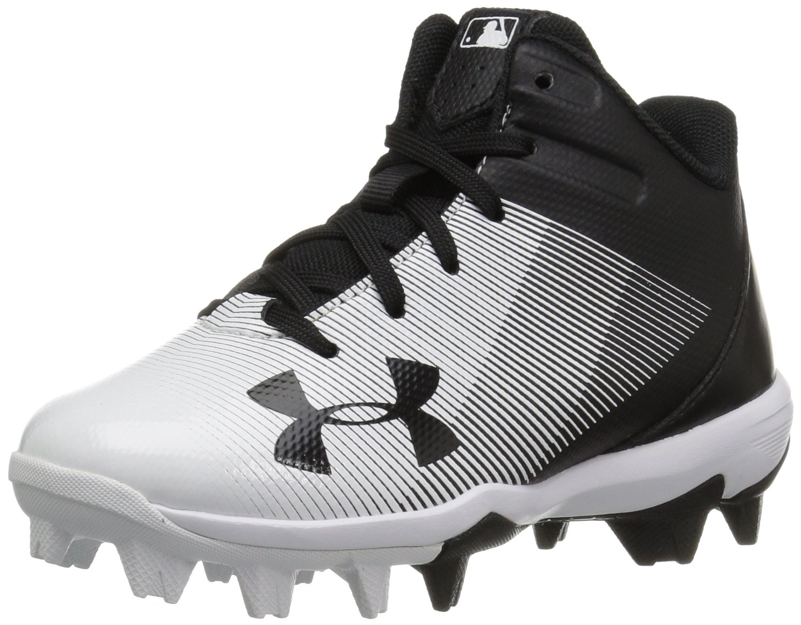 Under Armour Boys' Leadoff Mid Jr. RM Baseball Shoe, Black (011)/White, 3.5 by Under Armour