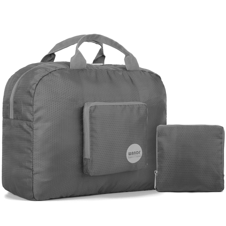 Wandf Foldable Travel Duffel Bag Luggage Sports Gym Water Resistant Nylon (Gray 16'')