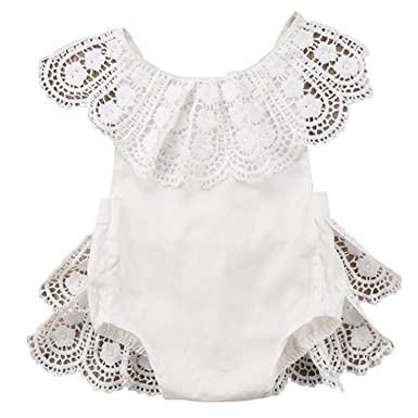 bb06bcb5bee Amazon.com  FIZUOXVE Infant Newborn Baby Girl Summer Sleeveless Chiffon  Floral Backless Bodysuit Toddler Romper  Clothing